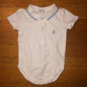 Baby Boy's White Polo Shirt Onesie Size 0-3M